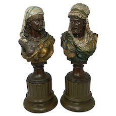 Antique Pair of Orientalist Busts by J. Boese Bronzed Spelter Germany