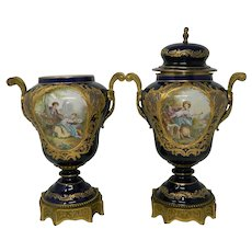 Antique Pair of Sevres Porcelain Urns with Bronze and Hand Painted Medallions France