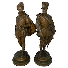 Antique Pair of Bronzed Spelter Musketeer Statues Figures France