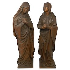 Antique Pair of Large Hand Carved Wood Statues Virgin Mary and Saint John Germany