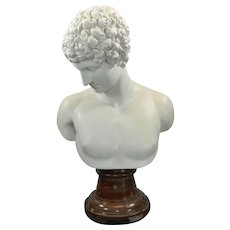 Antique Large Bust of Antinous Made of Biscuit on Marble Stand France