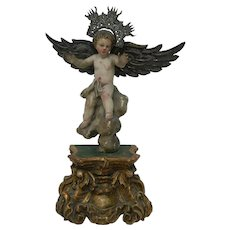 Antique Hand Carved Wood Polychrome Statue Figurine Angel on a Gold Stand Wings and Halo Made of Silver  Italia