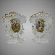 Antique Pair Hand Painted Old Paris Style Porcelain Flower Vase France
