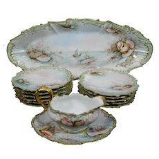Old Limoges Porcelain Fish Serving Set Hand Painted and Signed Sea Themes France
