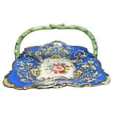 Antique Hand Painted Meissen Style Porcelain Candy Tray Cobalt Blue Germany