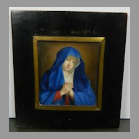 Antique Framed Hand Painted Miniature Portrait of The Virgin Mary France