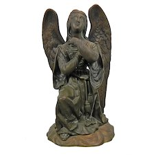 Antique Original Bronze Statue Figure of An Angel Praying France
