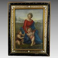 Antique Framed Miniature Painting Portrait of The Virgin Mary and Baby Jesus After Raphael France