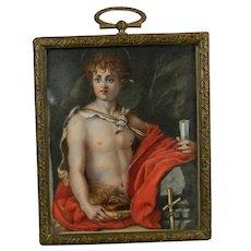 Antique Framed Hand Painted Miniature Portrait of John the Baptist France