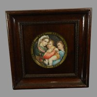 Antique Framed Hand Painted Signed Miniature Portrait of The Virgin of the Chair After Raphael France