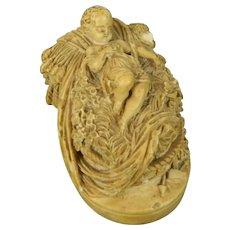 Antique Meerschaum Hand Carved Figurine Baby Jesus Signed France