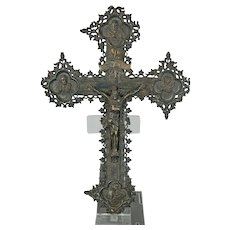 Antique Chiseled 800 Silver Gothic Style Cross Germany