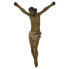 Antique Hand Carved Corpus Christ in Polychrome Wood Mexico