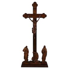 Antique Large Hand Carved Wood Calvary Walnut Italy