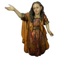 Antique Hand Carved Wood Statue Marie Magdalene Mexico
