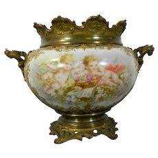 Antique Center Bowl Gilt Bronze Sevres Porcelain Signed France