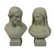 Antique Pair of R&L Biscuit Parian Porcelain Busts Jesus and Virgin Mary England