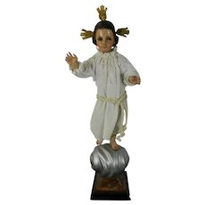 Antique Hand Carved Wood Statue of Baby Jesus Blessing the World Mexico