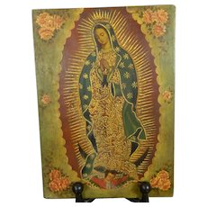 Antique Hand Painted Image of Our Lady of Guadalupe Mexico