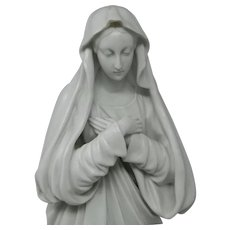 Antique Large Porcelain Statue of The Virgin Immaculate Conception France
