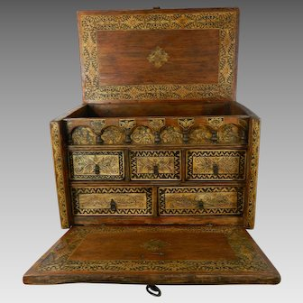 Antique Hand Carved Wood Spanish Colonial Chest Box Bargueño Original Ironwork Spain