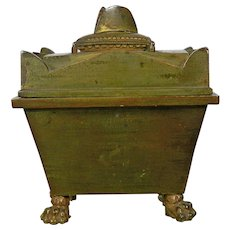 Antique Gilt Bronze Inkwell Napoleon Tomb Marble Stand France