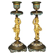 Antique Pair of Gilt Bronze Champleve Enamel Figurine Cherubs Candlesticks France