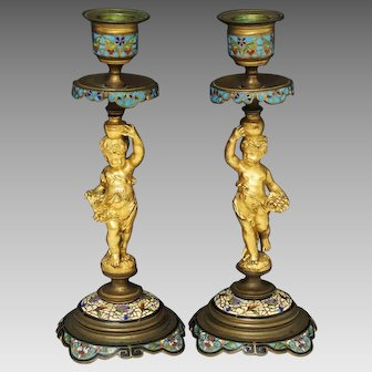 Antique Pair of Gilt Bronze Champleve Enamel Figurine Cherubs Candlesticks France