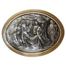 Antique Gilt Bronze Frame Chiseled Silver Tin Metal Burial of Christ Justin Mathieu France