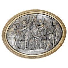 Antique Gilt Bronze Frame Chiseled Silver Tin Metal Crowning of Thorns Justin Mathieu France