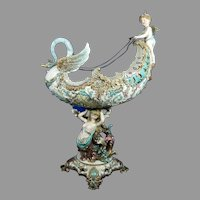 Antique Monumental Majolica Centerpiece Eichwald Austria