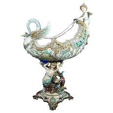 Antiques Antique Minton Majolica Centerpiece Lustrous