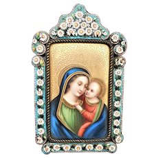 Antique Virgin Mary and Baby Jesus Painting Plaque Micro Mosaic Frame Germany
