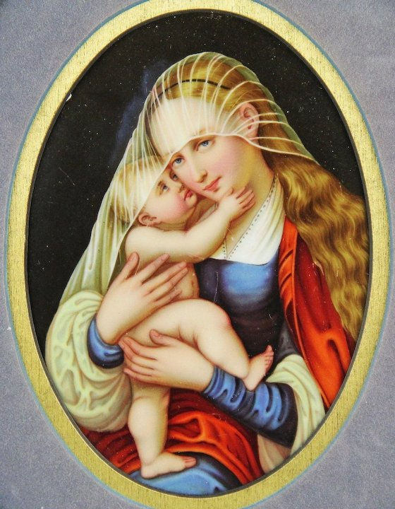 1900 1940 virgin mary and baby jesus painting on framed kpm style