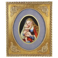1900-1940 Virgin Mary and Baby Jesus Painting on Framed KPM Style Porcelain Plaque Germany