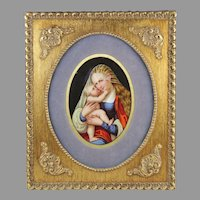 Antique Virgin Mary and Baby Jesus Painting on Framed KPM Style Porcelain Plaque Germany