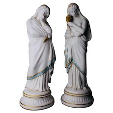Antique Pair Parian Porcelain Statues Comedy and Tragedy Gold & Blue Accents England