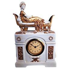 Antique Scheibe Alsbach Porcelain Mantle Clock Madame Recamier Figurine Germany