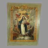 Antique Oil Painting Virgin and Baby Jesus Mexico