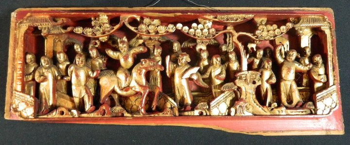 Antique Chinese Hand Carved Wood Lacquered And Gold Gilded Panel China Late 19th Century