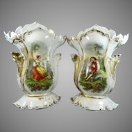 Antique Set of Two Hand Painted Porcelain Flower Vases Old Paris Style – France 19th Century
