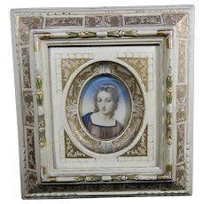 Vintage Hand Painted Gutta-Percha Portrait after Raphael's Madonna – Italy 20th Century