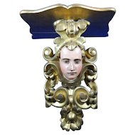 Antique Hand Carved Wood Shelf with the Face of an Angel or Saint – Mexico 19th Century