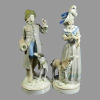 Antique Pair of Hand Painted Amphora Porcelain Statues – Austria 19th Century