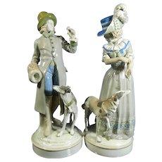 Antique Pair of Hand Painted Amphora Porcelain Statues – Austria 19th Century