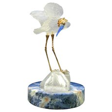 Vintage Frosted Baccarat Glass Style Stork Figurine with Semi-Precious Stones – France 20th Century