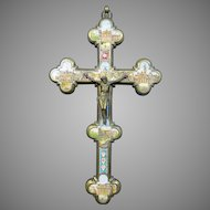 Antique Grand Tour Micro Mosaic Crucifix – Italy 19th Century