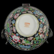 Vintage Chinese Hand Painted Porcelain Bowl – Mille Fleur Famille Noir Style – China 20th Century