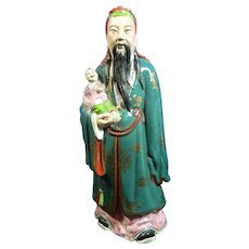 Vintage Chinese Hand Painted Porcelain Figurine of a Wise Man – Shou Lao Deity – China 20th Century