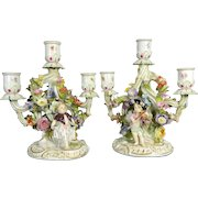 Antique Pair of Hand Painted Meissen Porcelain Candelabra with Cherubs & Encrusted Flowers – Germany 19th Century